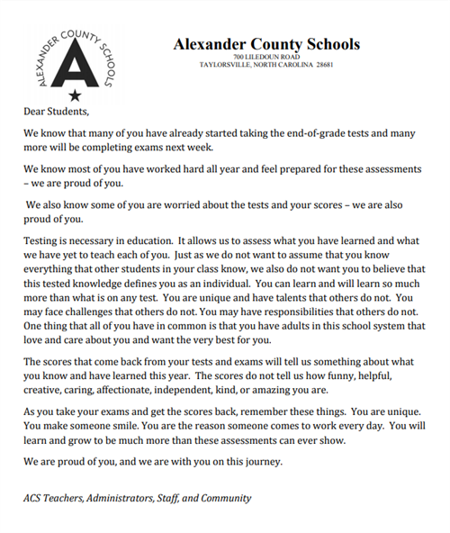 Open Letter to ACS Students
